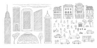 Иллюстрации doodle контура эскиза вектора улица установленной городская в исторических европейских городе, тележке и автомобилях  иллюстрация вектора
