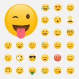 иллюстрации emoticons цветов вектор легкой editable установленный Дизайн Emoji плоский, дизайн воплощения Illus вектора Стоковое Изображение RF