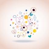 Иллюстрация абстрактного искусства с милыми сердцами и точками Стоковое фото RF
