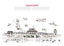Иллюстрация авиапорта города Стоковые Фотографии RF