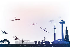 Иллюстрация авиапорта города Стоковые Фото