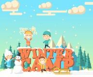 Иллюстрация лагеря зимы равновеликая Стоковые Изображения