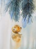 Иллюстрация акварели желтого цвета украшения рождественской елки Стоковые Изображения RF