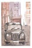 Иллюстрация акварели меньшего старого автомобиля в городке Стоковая Фотография