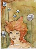 Иллюстрация акварели молодой женщины иллюстрация вектора