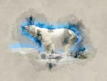 Иллюстрация акварели полярного медведя Стоковые Изображения RF