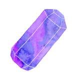 Иллюстрация акварели самоцвета или кристалла Стоковое Изображение