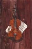 Иллюстрация акварели скрипки и примечаний на деревянной предпосылке Стоковое Изображение