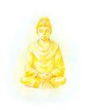 Иллюстрация акварели статуи Будды золота Стоковое Изображение