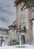 Иллюстрация акварели строба башни Mascheroni аркады Бергама первоначально Стоковая Фотография