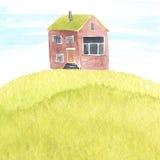 Иллюстрация акварели с старым домом на траве Стоковые Изображения RF