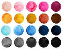 Иллюстрация акварели для художнического дизайна Круглые пятна, шарики голубого, розового, желтого, черного и коричневого цвета Стоковая Фотография