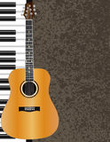 Иллюстрация акустической гитары и рояля Стоковые Изображения RF