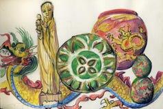 Иллюстрация античных китайских диаграмм и фарфора Стоковые Фотографии RF