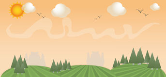 Иллюстрация ландшафта весны иллюстрация штока