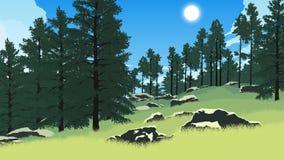 Иллюстрация ландшафта леса Стоковая Фотография RF