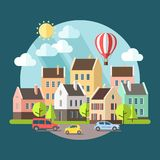 Иллюстрация ландшафта плоского дизайна городская Бесплатная Иллюстрация