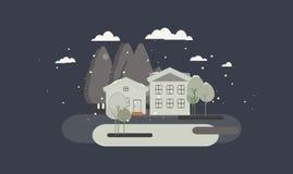 Иллюстрация ландшафта плоского дизайна городская Стоковые Изображения RF