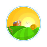 Иллюстрация ландшафта сельской местности с фермой сена, поля и деревни благоустраивает значок Стоковая Фотография RF