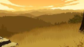 Иллюстрация ландшафта холмов Стоковое фото RF