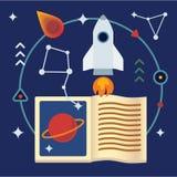 Иллюстрация астрономии плоская с книгой, ракетой, звездами и планетами Стоковое Изображение RF
