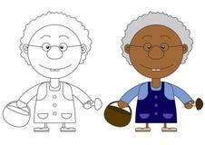 Иллюстрация африканской бабушки с корзиной и грибами Стоковая Фотография