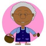 Иллюстрация африканской бабушки с корзиной и грибами Стоковые Изображения