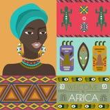 Иллюстрация Африки с различными африканскими символами иллюстрация штока