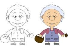 Иллюстрация бабушки с корзиной и грибами Стоковое Изображение RF