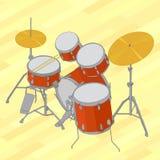 Иллюстрация барабанчика установленная плоская равновеликая иллюстрация вектора