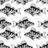 Иллюстрация безшовной картины с черными рыбами Стоковая Фотография