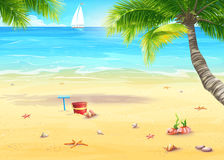 Иллюстрация берега моря с пальмами, раковинами, ведром и грабл иллюстрация вектора