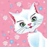 Иллюстрация белого кота на розовой предпосылке Стоковое Изображение