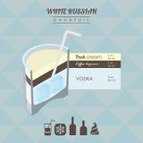 Иллюстрация белого русского коктеиля равновеликая Стоковое фото RF