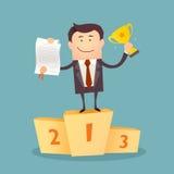 Иллюстрация бизнесмена гордо стоя на выигрывая подиуме Стоковые Фотографии RF