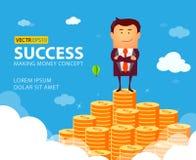 Иллюстрация бизнесмена гордо стоя на огромной лестнице денег Стоковые Фото