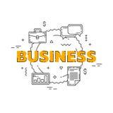 Иллюстрация бизнес-линии Линия плоский дизайн для вебсайта Белое современное знамя Стоковые Фото