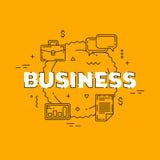 Иллюстрация бизнес-линии Линия плоский дизайн для вебсайта Желтое современное знамя Стоковые Фотографии RF