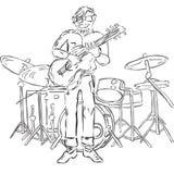 Иллюстрация битника играя гитару Стоковые Изображения
