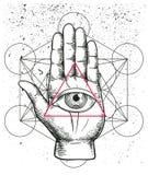 Иллюстрация битника с священной геометрией, рукой, и полностью видя пирамидой треугольника nside символа глаза белизна экрана pro бесплатная иллюстрация