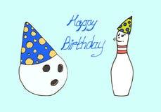 иллюстрация Боулинг шарика и штыря день рождения счастливый Стоковые Фотографии RF