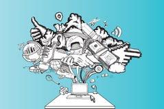 Иллюстрация бредовой мысли компьютера Стоковые Фото