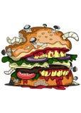 Иллюстрация бургера зомби Стоковые Изображения RF