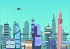 Иллюстрация будущего города плоская городской шаблон городского пейзажа с современными зданиями и футуристическим движением Знамя Стоковые Фото
