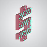 Иллюстрация вектора лабиринта Равновеликий доллар Стоковые Фотографии RF