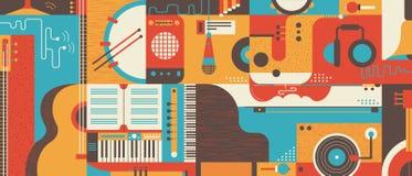 Иллюстрация вектора абстрактной предпосылки музыки плоская Стоковое Изображение