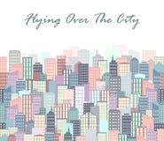 Иллюстрация вектора ландшафта города горизонт урбанский Предпосылка с зданиями в плоском стиле Стоковые Фото