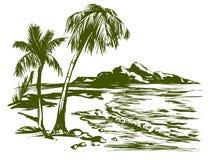 Иллюстрация вектора ландшафта пляжа лета нарисованная рукой Стоковое Фото