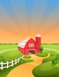 Иллюстрация вектора ландшафта фермы Стоковая Фотография