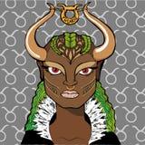 Иллюстрация вектора астрологического знака как девушка - Тавра зодиака Стоковые Изображения RF